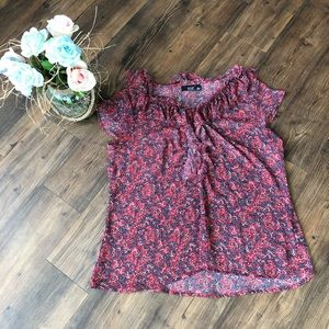 A.N.A - Sheer Blouse - Red - X-Large